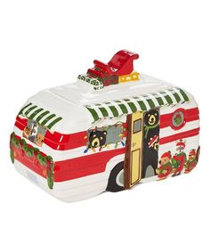 Take a look at this Hometown Holiday Bear RV Cookie Jar today! Parking Design, Cookie Jars, Glamping, 5 D, Kitchen Decor, Bear, Holiday Decor, Campers, Tabletop