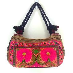 FREE SHIPPING Twin Flowers Desert Orange Hmong Tribe Vintage Style Tote Bag Hmong Handbag Twist Straps Pom Poms Hippie Embroidered S011F-O