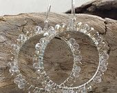 Earrings // Crystal wrapped hoops // Clear & Driftwood
