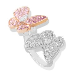 Van Cleef & Arpels - Two butterfly collection - Pink gold, round pink sapphires, white gold, round and marquise-cut diamonds Buy Diamond Ring, Unique Diamond Rings, Eternity Ring Diamond, Diamond Gemstone, Diamond Jewelry, Jewelry Rings, Gemstone Rings, Jewellery, Bijoux Van Cleef And Arpels