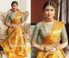 Shriya Saran Shows How To Style Silk Sarees With Trendy Blouses. Rich kanjeevaram silk sarees by VRK silks paired wit modern blouse designs Bridal Sarees South Indian, Indian Bridal Outfits, Indian Bridal Fashion, Wedding Outfits, Wedding Saree Blouse Designs, Silk Saree Blouse Designs, Fancy Blouse Designs, Blouse Patterns, Gold Silk Saree