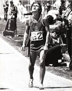 Steve Prefontaine wasted after setting a new US record in the 5000m in a US vs USSR All Stars meet at Edwards Field, Berkeley, CA, July 3, 1971 | Flickr - Photo Sharing!