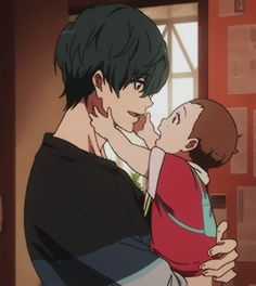 I was the youngest in my family, so I always wanted a little brother. Fanarts Anime, Anime Characters, Otaku Anime, Manga Anime, Bebe Anime, Neji E Tenten, Tamako Love Story, Familia Anime, Free Iwatobi Swim Club