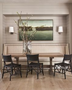 Upholstered dining seat in dining nook, black chairs-i love the style of this banquette-we could have it made custom to fit your space and table. Banquette Dining, Dining Nook, Upholstered Dining Chairs, Dining Room Design, Eames Chairs, Room Chairs, Kitchen Banquette Ideas, Nook Table, Side Chairs