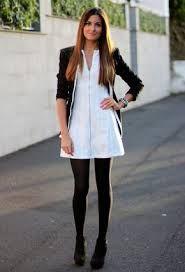 vestidos blancos con medias negras - Buscar con Google