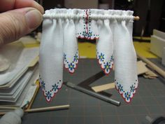 "On my curtains for the corner cabinet dollhouse I used ""Scottie's Guide To Bauernmalerei Bavarian Folk Art Book 1"" by Scottie Foster. I use..."