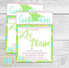 Chomp Chomp Gator Graduation Invitation [Lily Pulitzer inspired invite: custom, DIY, printable, PDF, Option for seller to print and ship]