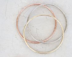Bangles Bracelets Boho Chic Hammered THREE Bangles Silver Copper Gold Fresh Jewelry Unique Finds Fall Picks Chic Boho by amywaltz #TrendingEtsy