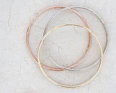 Bangles Bracelets Boho Chic Hammered THREE Bangles by amywaltz
