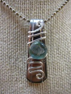 Spoon Pendant with Glass and Wire by tangledupinhue on Etsy, $20.00
