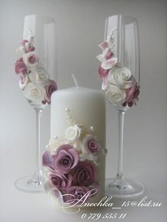 . Bride And Groom Glasses, Wedding Wine Glasses, Wedding Unity Candles, Diy Candles, Wedding Crafts, Wedding Decorations, Kanzashi Flowers, Beautiful Candles, Clay Flowers