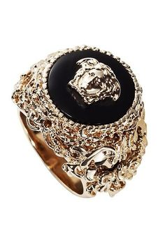 Versace Ring Source by Men's Jewelry Rings, Body Jewelry, Jewelry Accessories, Jewelry Design, Jewellery, Versace Jewelry, Ring Watch, Versace Men, Bridal Jewelry Sets