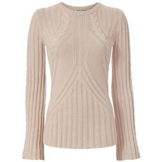 Autumn Cashmere Women's Bell Sleeve Cable Knit (18.575 RUB) ❤ liked on Polyvore featuring tops, sweaters, long sleeve cable knit sweater, long sleeve sweater, pink top, pink cable sweater and cable-knit sweater