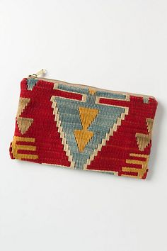 I am super into aztec/geometric textures for Fall.  Kilim Rug Pouch #anthropologie