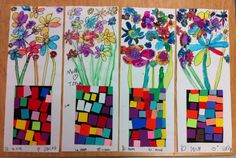 Watercolor Flowers &  Paper Collage Vases  Apex Elementary Art