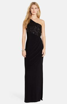 Lauren Ralph Lauren One-Shoulder Sequin Bodice Jersey Gown (Regular & Petite) | Nordstrom 105.000