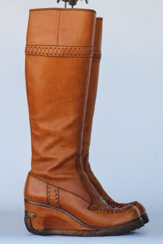 "Rockin 70's ""The Wild Pair"" boho hippie leather riding boots 7 1/2 B. $180.00, via Etsy."