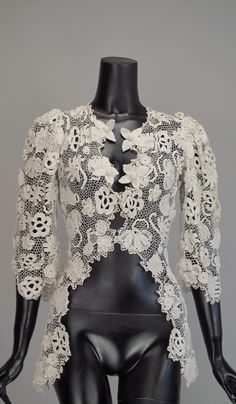 1900s Edwardian Irish lace redingote style jacket | From a collection of rare vintage jackets at http://www.1stdibs.com/fashion/clothing/jackets/