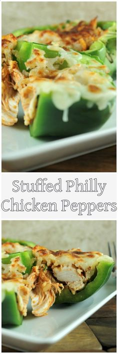 Stuffed Philly Chicken Peppers Recipe are a perfect quick family meal! #skinnymsrecipes #stuffedpeppers