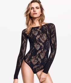 Wolford - by Cifra Lace Bodysuit Long Sleeve, Long Sleeve Leotard, Dance Outfits, Cool Outfits, Mesh Bodysuit, Bodysuit Fashion, Beautiful Lingerie, Lingerie Sleepwear, Leotards