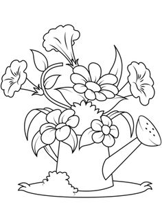 Watering Can with Flowers Coloring page