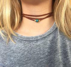 Brown suede triple wrap choker necklace with door designsbyilla