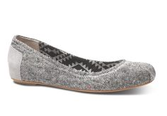 Grey Tweed Lurex Women's Ballet Flats #TOMS Give Back to School Pinterst Contest