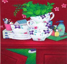 나쁜꽃밭 Bad a Flower Garden Arte Floral, Naive Art, Pencil Illustration, Illustrations And Posters, Colored Pencils, Oil On Canvas, Drawings, Tableware, Flowers