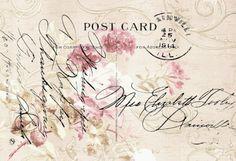 Romantic Roses Post Card Vintage Ephemera, Vintage Cards, Vintage Paper, Vintage Postcards, Vintage Images, French Postcards, Vintage Artwork, Vintage Prints, Old Letters