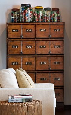 i love apothacary drawers!  I wish I had a whole wall of these.  I wish I had a row of these right under my counter in my kitchen, one for forks, one for knives, one for spoons, etc...