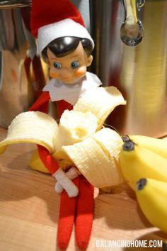 Elf on the Shelf Eating a Banana