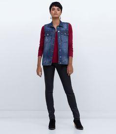 Colete feminino  Com puídos  Com bolsos  Com botões  Marca: Blue Steel  Tecido: Marfinno  Composição: 100% algodão  Modelo veste tamanho: P     COLEÇÃO INVERNO 2016     Veja outras opções de    coletes femininos.