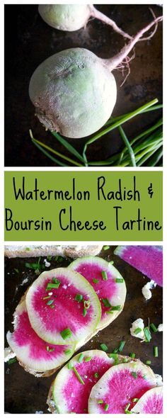 These seasonal watermelon radishes are just as pretty as they are delicious! #watermelonradish #tartines http://www.healthyrecipeecstasy.com/watermelon-radish-and-boursin-cheese-tartines/