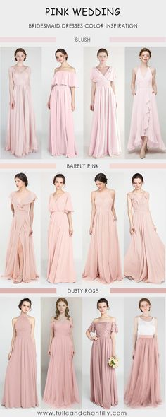 2021 popular pink wedding color ideas with combo ideas on bridesmaid dresses in blush, barely pink, dusty rose Dusty Rose Bridesmaid Dresses, Dusty Rose Wedding, Blush Pink Weddings, Wedding Bridesmaids, Junior Bridesmaids, Wedding Dresses, Pink Wedding Decorations, Wedding Colors, Chelsea Wedding
