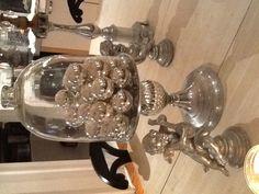 Idea: Winter celebration cloche with all silver antique ornaments.