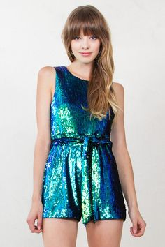 Look like a mermaid this NYE in a blue-green sleeveless romper! #streetstyle