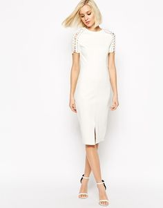Another favorite...Lavish Alice Bodycon Midi Dress with Lace Up Sleeve
