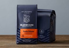 "Seattle-based studio Partly Sunny, developed this bold visual identity and retail packaging system for Bluebeard Coffee Roasters. ""Style and simplicity helped Bluebeard cut through the… Pouch Packaging, Coffee Packaging, Coffee Branding, Food Packaging, Brand Packaging, Design Packaging, Retail Packaging, Coffee Labels, Chocolate Packaging"