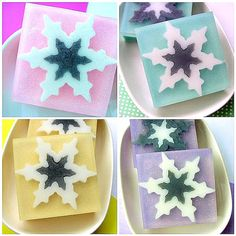 Soap Gift Set - THE SNOWFLAKE Collection - Snowflake Soaps - Christmas Soaps - 4 Big Soap Bars ready to Gift - Winter  - Holiday Soaps
