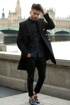 Men's Black Overcoat, Navy Denim Shirt, Black Jeans, Black Leather Loafers