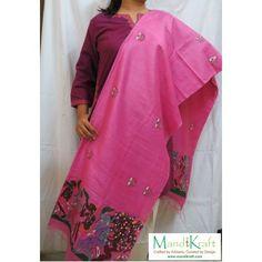 Handpainted Pattachitra Dupatta - Drums & Celebrations - Pink