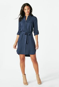 Two Pocket Shirt Dress - Dark Shirt - Ideas of Dark Shirt - Two Pocket Shirt Dress in Dark Indigo Get great deals at JustFab Dress Outfits, Cute Outfits, Fashion Outfits, Navy Blue Dress Shirt, Vetement Fashion, Dress Shirts For Women, Business Casual Outfits, Work Attire, Work Fashion