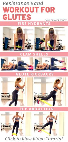 4 Best Resistance Band Exercises for Glutes Trying to build a round, perky booty but don't know where to start? This workout is for you! Click this pin to see the full length video tutorial for the exercises you need to build killer glutes. Fitness Workouts, Sport Fitness, Fitness Tracker, At Home Workouts, Fitness Tips, Health Fitness, Butt Workouts, Yoga Fitness, Stomach Exercises