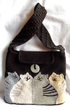 """Picture of Knitted Bag """"Cats"""""""
