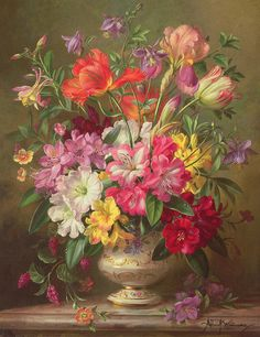 A Spring Floral Arrangement Art Print by Albert Williams. All prints are professionally printed, packaged, and shipped within 3 - 4 business days. Choose from multiple sizes and hundreds of frame and mat options. Flower Vases, Flower Art, Still Life Art, Arte Floral, Beautiful Paintings, Watercolor Flowers, Floral Arrangements, Fine Art America, Beautiful Flowers