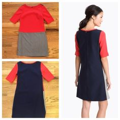 Eliza J Colorblock Shift Dress Summery, nautical and fun Eliza J navy, grey and red shift dress. Gold sidezip embellishment. Size 4. In perfect, like new condition. Feel free to ask any questions below or make me an offer! Eliza J Dresses