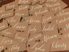 A hand-lettering design studio based in Oakland, California. Lettering Design, Hand Lettering, Bakers Twine, White Ink, Wedding Stationery, Gift Tags, Paper Crafts, Calligraphy, Brown