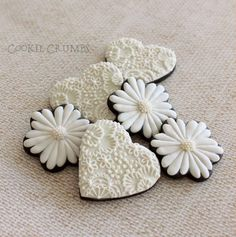 Embroidery and flowers in white and ivory, cookies by MintLemonade (Cookie Crumbs)