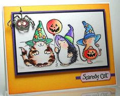 ...then we're all about the Holidays! We have so many Penny Black Holiday cards and projects to show to you over next several weeks. But first, a few final Halloween cards by Elizabeth Allan; Eliza...