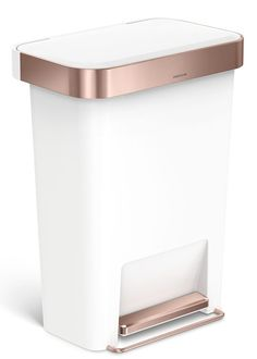 simplehuman rose gold / white plastic step trash can w/ liner pocket Rose Gold Rooms, Rose Gold Decor, Rose Gold Marble, D House, Kitchen Items, My New Room, House Design, Canning, Home